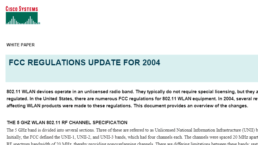 FCC-Regulations-Update-for-2004-Cisco-Systems | Wireless LAN