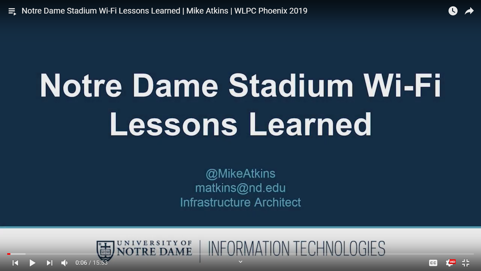 Notre Dame Stadium Wi-Fi Lessons Learned   Mike Atkins   WLPC Phoenix 2019